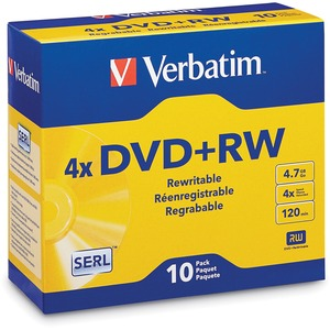 Verbatim DVD+RW 4.7GB 4X with Branded Surface - 10pk Jewel Case - 2 Hour Maximum Recording