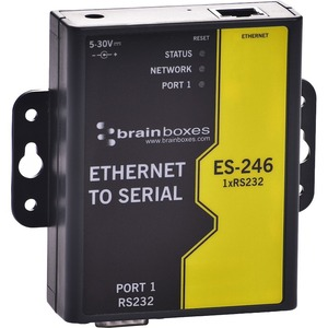 Brainboxes 1 Port RS232 Ethernet to Serial Adapter - DIN Rail Mountable - PC-Linux-Mac - 1