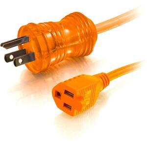 C2G 8ft 16 AWG Hospital Grade Power Extension Cord (NEMA 5-15P to NEMA 5-15R) | Orange