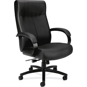 HON Validate Big and Tall Chair - Black Leather Seat - 5-star Base - Black - 1 Each