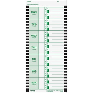 Lathem Thermal Time Clock Weekly Attendance Cards - 8.25