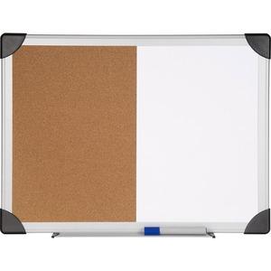 Lorell Dry Erase Aluminum Frame Cork Combo Boards - 24