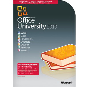 Microsoft Office University 2010 W/SP1 DVD 32/64-BIT 1PC - Higher Education Proof Required