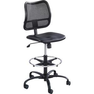 Safco Vue Extended-Height Vinyl Chair - Black Vinyl, Nylon, Polyester Seat - Black Back - 5-star Base - 1 Each