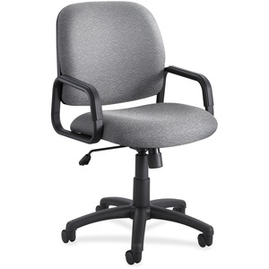 Safco Cava Urth High Back Chair - Gray Polyester Seat - Gray Polyester Back - Black Frame - 5-star Base - Yes - 1 Each