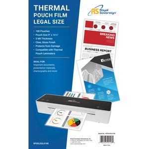 """Royal Sovereign Legal Size (9"""" x 14 1/2"""") 5mil Thermal Laminating Pouches -100 Pack"""