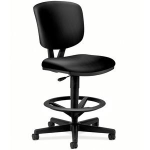 HON Volt Task Stool, SofThread Leather - Black SofThread Leather Seat - Leather Back - Black Frame - 5-star Base - Black - 1 Each