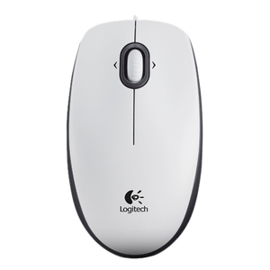 LOGITECH M100 Mouse - USB - Optical - 3 Button(s) - White - Cable - 1000 dpi - Scroll Wheel