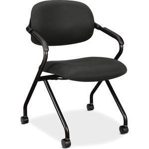 HON Floating Back Nesting Chairs - Black Seat - Mesh Fabric Back - Black Frame - Four-legged Base