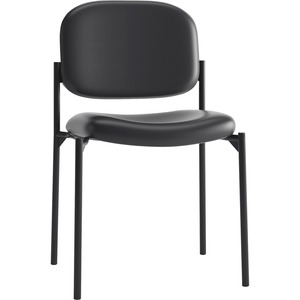 HON Scatter Stacking Guest Chair - SofThread Leather Seat - Black Frame - Four-legged Base - Black - 1 Each