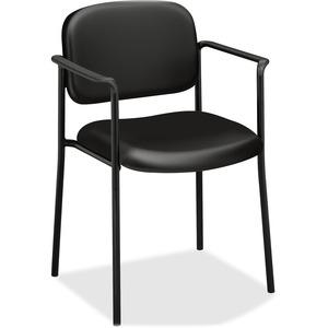 HON Scatter Stacking Guest Chair - Leather Seat - Black Frame - Four-legged Base - Black - Armrest - 1 Each
