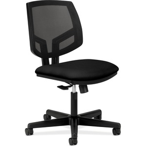 HON Volt Mesh Back Task Chair, Black - Black Fabric Seat - Plastic Back - Black Frame - 5-star Base - Black - 1 Each