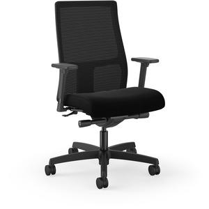 HON Ignition Mid-Back Task Chair - Black Fabric Seat - Mesh Back - Black - 1 Each