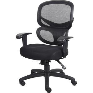 Lorell Mesh-Back Fabric Executive Chairs - Black Fabric Seat - Black Mesh Back - 5-star Base - Black, Silver - Fabric - 1 Each