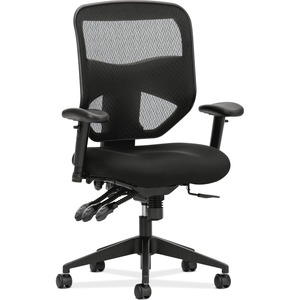 HON Prominent Mesh High-Back Task Chair - Black Fabric Seat - Black Polyester Back - 5-star Base - 1 Each