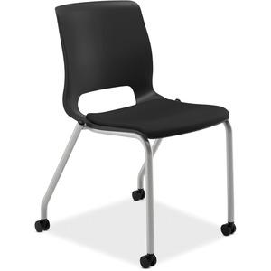 HON Motivate Stacking Chairs, 2-Pack - Black Fabric Seat - Black Polypropylene Back - Platinum Frame - Four-legged Base - 2 / Carton