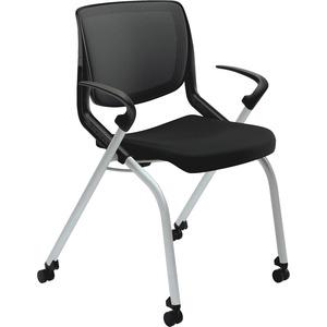 HON Motivate Nesting / Stacking Chair - Black Fabric Seat - Black Fabric Back - Platinum Metallic Frame - Four-legged Base - 1 Each