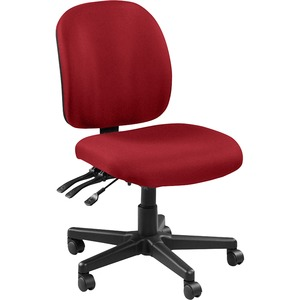 Lorell Mid-back Task Chair without Arms - Real Red Fabric Seat - Fabric Back - 5-star Base - 1 Each