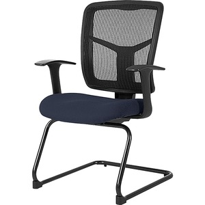 Lorell ErgoMesh Series Mesh Side Arm Guest Chair - Periwinkle Fabric Seat - Black Mesh Back - Cantilever Base - 1 Each