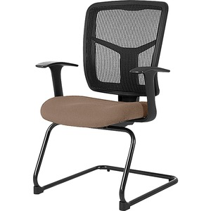 Lorell ErgoMesh Series Mesh Side Arm Guest Chair - Malted Fabric Seat - Black Mesh Back - Cantilever Base - 1 Each