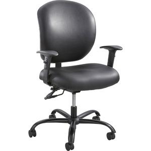Safco Alday 24/7 Task Chair - Black Polyester Seat - Black Vinyl Back - 5-star Base - Black - 1 Each