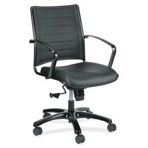 Eurotech europa LE222TNM Mid Back - Black Leather Seat - Black Leather Back - Titanium Frame - 5-star Base - 1 Each