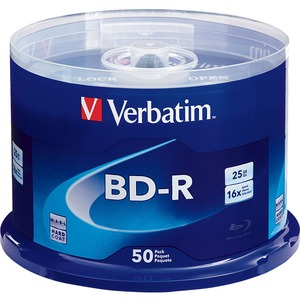 Verbatim BD-R 25GB 6x With Branded Surface - 50PK Spindle