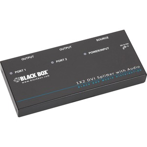 Black Box DVI-D Splitter with Audio and HDCP-1 x 2 - Audio Line In - Audio Line Out - DVI
