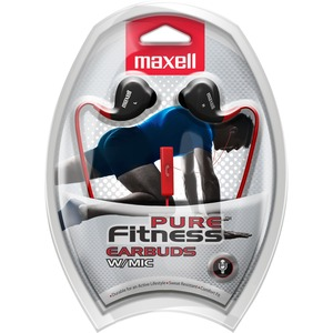 Maxell Pure Fitness Ear bud with Mic - Stereo - Wired - Earbud - Binaural - In-ear