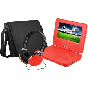 Ematic 7 DVD Player Bundle Red