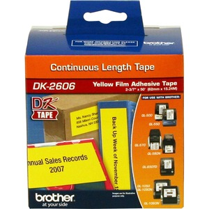 Brother DK-2606: Continuous Length Film Label Black On Yellow 2-3/7 for Use With QL500