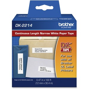 Brother DK2214 - Continuous Length Paper Tape - 0.47inWidth x 100 ft Length - Rectangle -