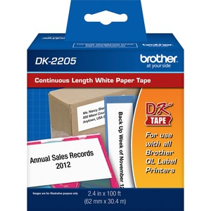 Brother DK2205 - Continuous Length White Film Paper Tape - 2.44inWidth x 100 ft Length -