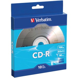Verbatim CD-R 700MB 52X with Branded Surface - 10pk Bulk Box