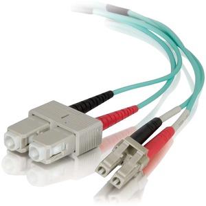 C2G 0.5m LC-SC 50/125 OM4 Duplex Multimode PVC Fiber Optic Cable | Aqua