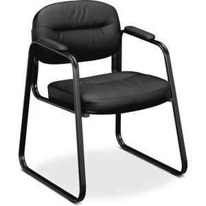 HON Sled Base Guest Chair - Black Leather Seat - Black Leather Back - Black Steel Frame - Sled Base - Black - 1 Each