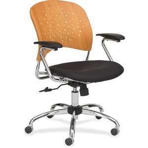 Safco Reve Task Chair Round Plastic Wood Back - Black Fabric Seat - Natural Wood-plastic Composite Back - Chrome Frame - 5-star Base - 1 Each