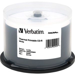 Verbatim CD-R 700MB 52X DataLifePlus White Thermal Printable - 50pk Spindle - Printable -