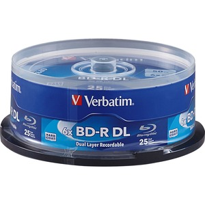 Verbatim BD-R DL 50GB 6X with Branded Surface - 25pk Spindle - 25pk Spindle