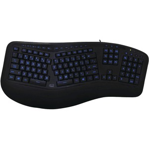 Adesso Tru-Form 150 - 3-Color Illuminated Ergonomic Keyboard