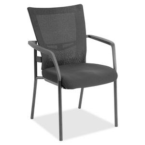 Lorell Mesh Back Guest Chair - Black Fabric Seat - Nylon Back - Powder Coated Frame - Four-legged Base - Black, Gray - Yes - 1 Each