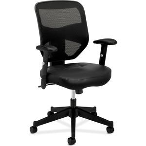 HON Prominent Mesh High-Back Task Chair - Black SofThread Leather Seat - Black Back - 5-star Base - 1 Each