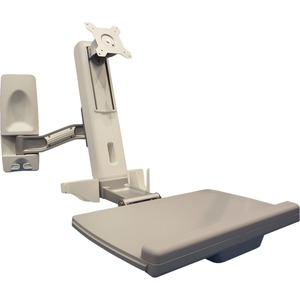 Sit Stand Wall Mounted Computer Workstation System. Features include Tilt,Swivel