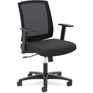 HON Mesh Mid-Back Task Chair - Black Fabric Seat - Black Back - 5-star Base - 1 Each