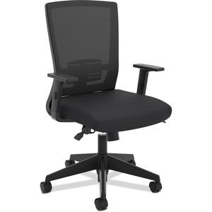 HON Mesh High-Back Task Chair - Black Foam Seat - Black Back - 5-star Base - Black - Armrest - 1 Each