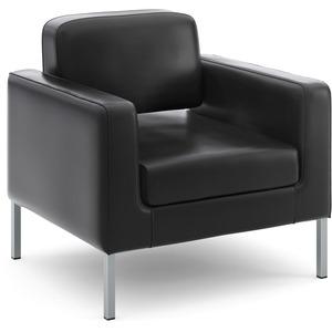 HON Corral Club Chair - Black SofThread Leather Seat - Black SofThread Leather Back - Four-legged Base - 1 Each