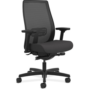 HON Endorse Mesh Mid-Back Task Chair - Black Fabric Seat - Black Back - 5-star Base - 1 Each