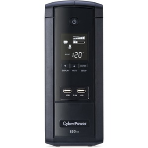 CyberPower 850VA BRG850AVRLCD UPS with 510W, AVR, LCD, and 2.1 USB Charging