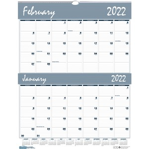 House of Doolittle Bar Harbor Blue/Gray 2-Month Wall Calendar - Julian Dates - Daily, Weekly, Monthly, Yearly - January 2022 till December 2022 - 2 Month Single Page Layout - 20
