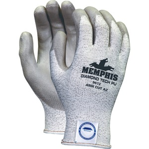 Memphis Dyneema Dipped Safety Gloves - X-Large Size - Polyurethane Palm, Polyurethane Fingertip - Gray - Breathable, Comfortable, Abrasion Resistant, Tear Resistant, Cut Resistant, Durable, Sturdy - For Multipurpose - 2 / Pair